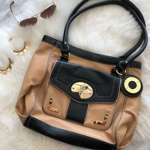 Nine West Caramel and Black Handbag